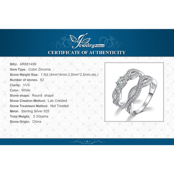 JPalace Infinity CZ Engagement Ring Set 925 Sterling Silver Rings for Women Wedding Rings Bands Bridal Sets Silver 925 Jewelry 5