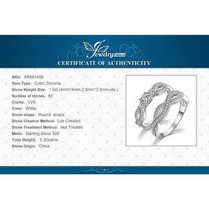 Image 5 - JPalace Infinity CZ zestaw pierścionków zaręczynowych 925 srebro pierścionki dla kobiet obrączki zespoły zestawy ślubne srebro 925 biżuteria