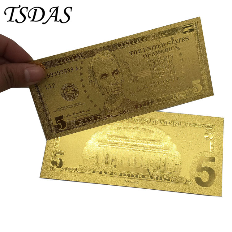 10pcs/set 24k Gold Banknotes Foil <font><b>Bill</b></font> American <font><b>5</b></font> <font><b>Dollar</b></font> Currency Collections Gifts image