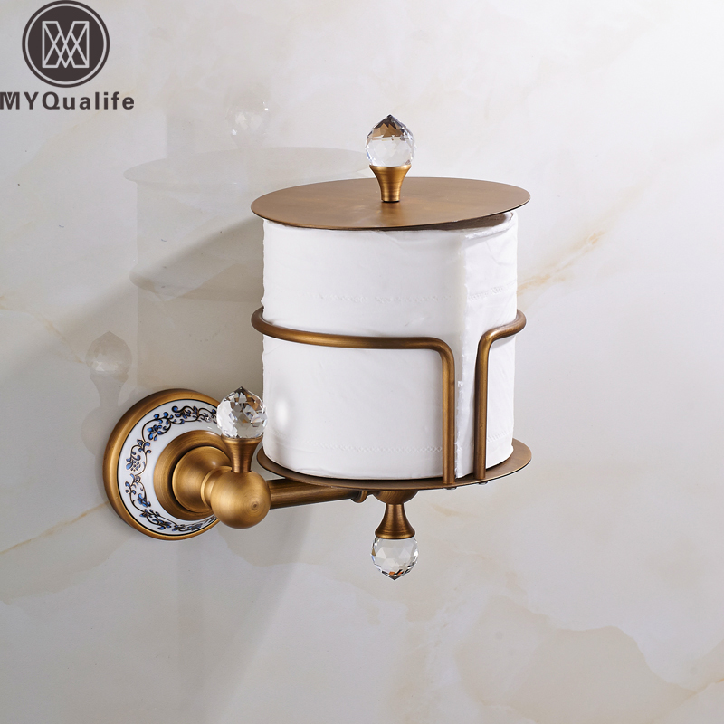 Luxury Wall Mounted Toilet Roll Paper Rack Antique Brass with Crystal Upstanding Toilet Paper Holder Ceramic Base luxury antique brass paper rack bathroom paper holder european toilet paper box toilet accessories wall mounted