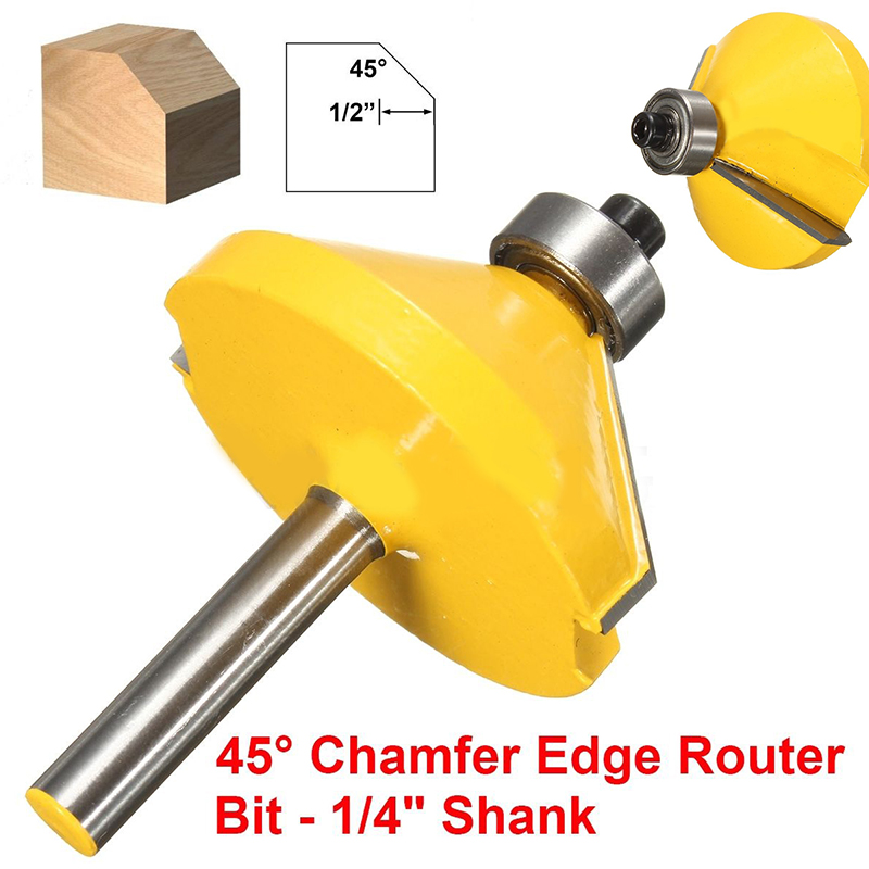 Mayitr 1PC 45 Degree Lock Miter Router Bit 1-19/32Diameter 1/4 Shank Wood Cutter for Woodworking Drilling Power Tools 1 2 shank 2 1 4 diameter bottom cleaning router bit mayitr high precision woodworking milling cutter cutting tools for mdf