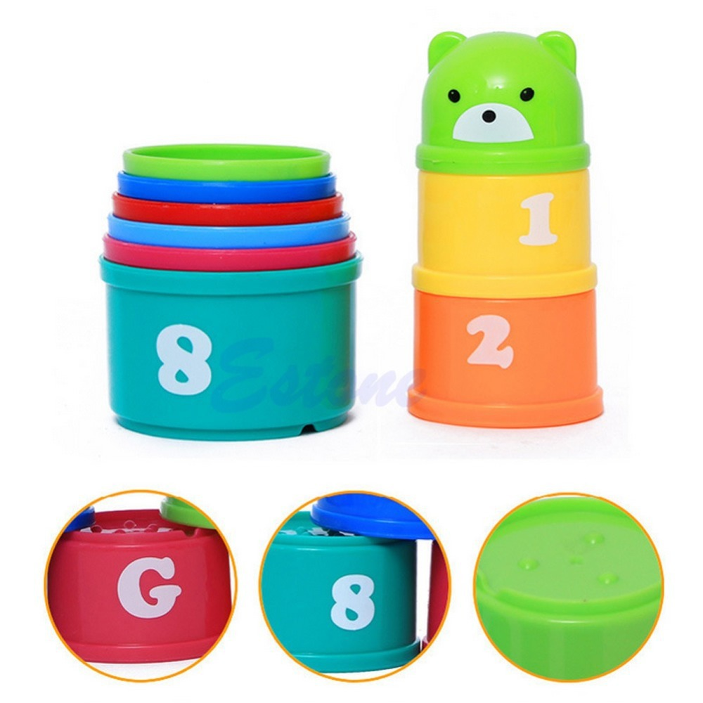 New 1 Set Baby Children Kids Educational Toy Figures Letters Folding Cup Pagoda Baby Kids Child Gifts