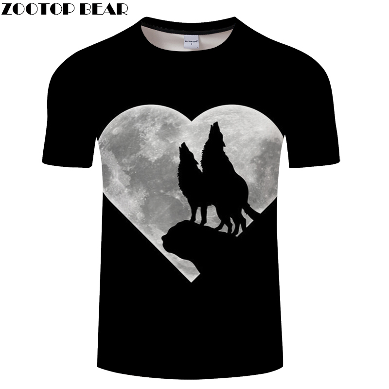 Heart Moon Wolf tshirt Men Women t shirt Funny t-shirt 3D Tee Harajuku Top Streatwear Short Sleeve Tee 2018 DropShip ZOOTOPBEAR