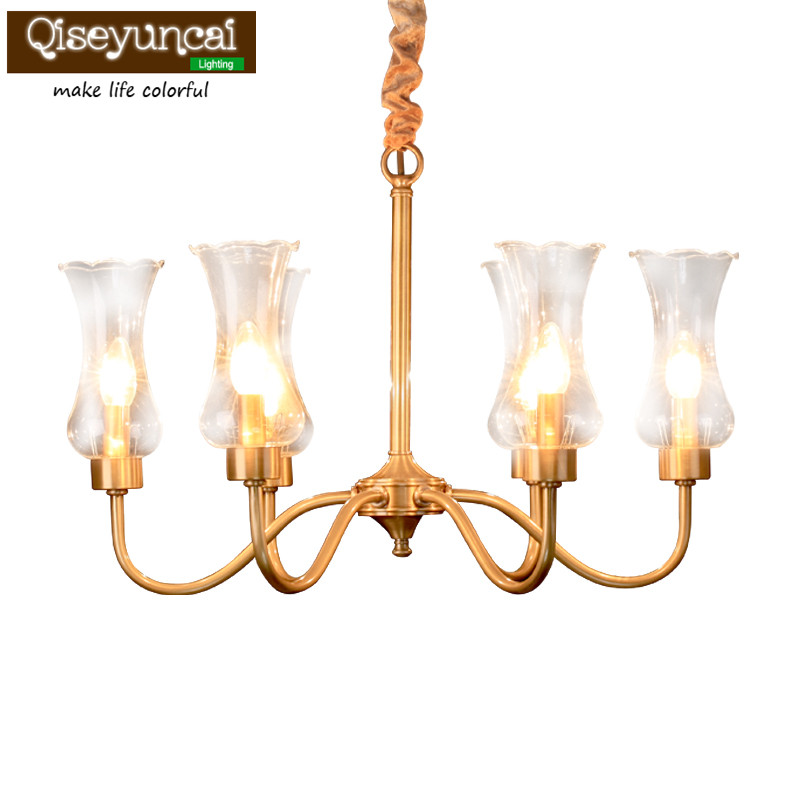 Qiseyuncai American chandelier rustic copper chandelier restaurant living room bedroom study vintage glass chandelier