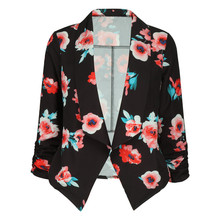 Print Slim Women Blazers Coat Feminino Autumn 2019 Female Notched Office Work OL Bleiser Ladies Clothing Elegant Outwear