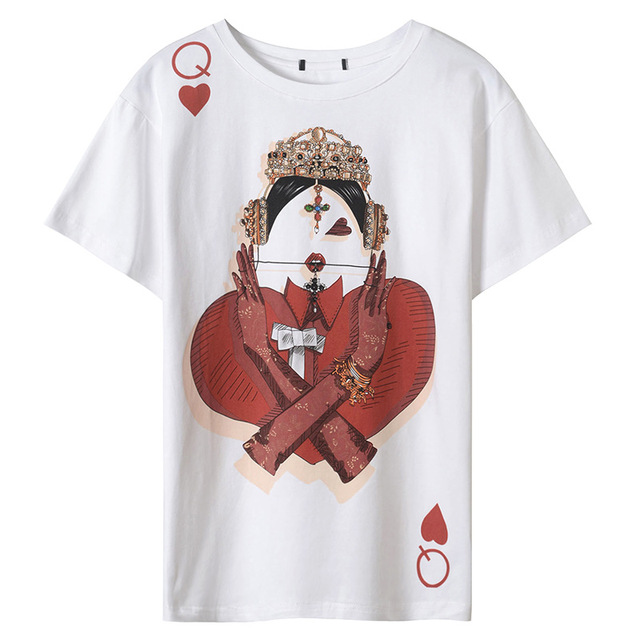 2018 New Casual T Shirt Runway Design T-shirts for Women Poker Red hearts Print harajuku Summer Top Tee Female White