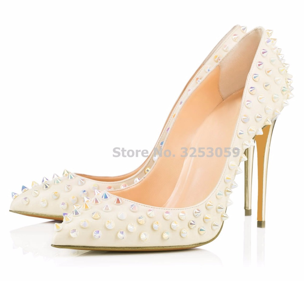 ALMUDENA Newest Rivets Pointed Toe 12cm High Heel Shoes Designer Slip-on Studded Gladiator Shoes Nightclub Pumps Wedding Heels 2018 women yellow high heel pumps pointed toe metal heels wedding heel dress shoes high quality slip on blade heel shoes
