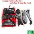 6 pçs/set placa ferramenta Massagem Acupuntura Tradicional Gua sha 100% Chifre de Boi (saco do presente & guasha gráfico)