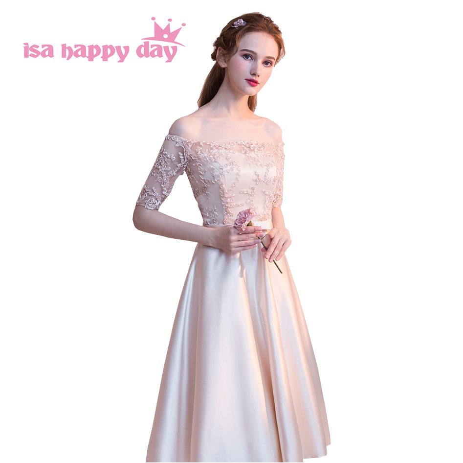 modern fashion bateau boat neck off shoulder prom sleeves tea length lace  ball dress satin champagne. US  24.23. teen puffy formal gray sweet 16 tulle  ... 5e5c1f84b547