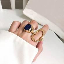2019 Chic Big Marble Geometric Jewelry Rings For Women Personality Statement Ring Bijoux Minimalist Gold-Color chic women s rhinestone geometric rose gold ring