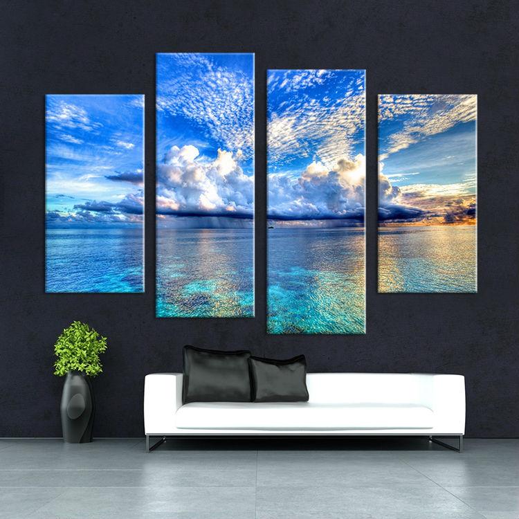 Us 18 99 4 panels oil painting the seashore leisure wall ar us 18 99 canvas print art