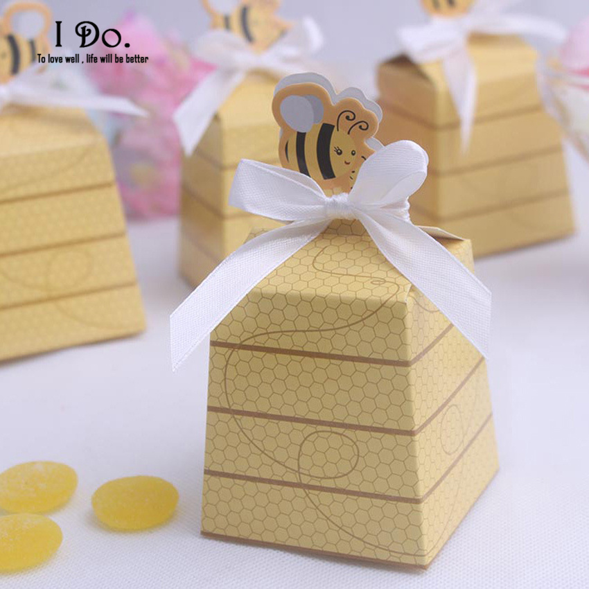 Free Shipping 10pcs Cute Bee Wedding Favor Boxes Wedding Candy Box