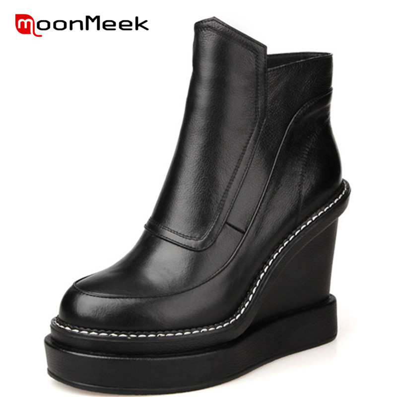 MoonMeek HOT 2018 fashion super high heels woman ankle boots new arrive genuine leather boots poplar autumn winter ladies boots цена 2017