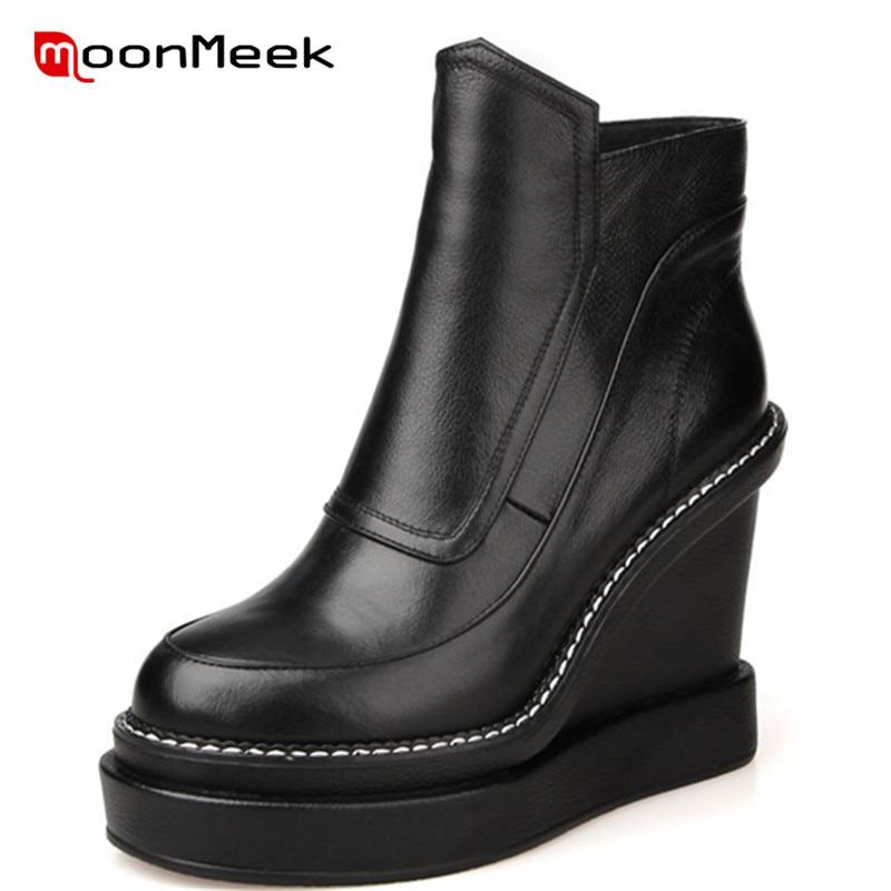 купить MoonMeek HOT 2018 fashion super high heels woman ankle boots new arrive genuine leather boots poplar autumn winter ladies boots по цене 4278.4 рублей