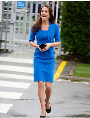 Neue 2014 Promi Prinzessin Kate Middleton Kleid Blauen ...