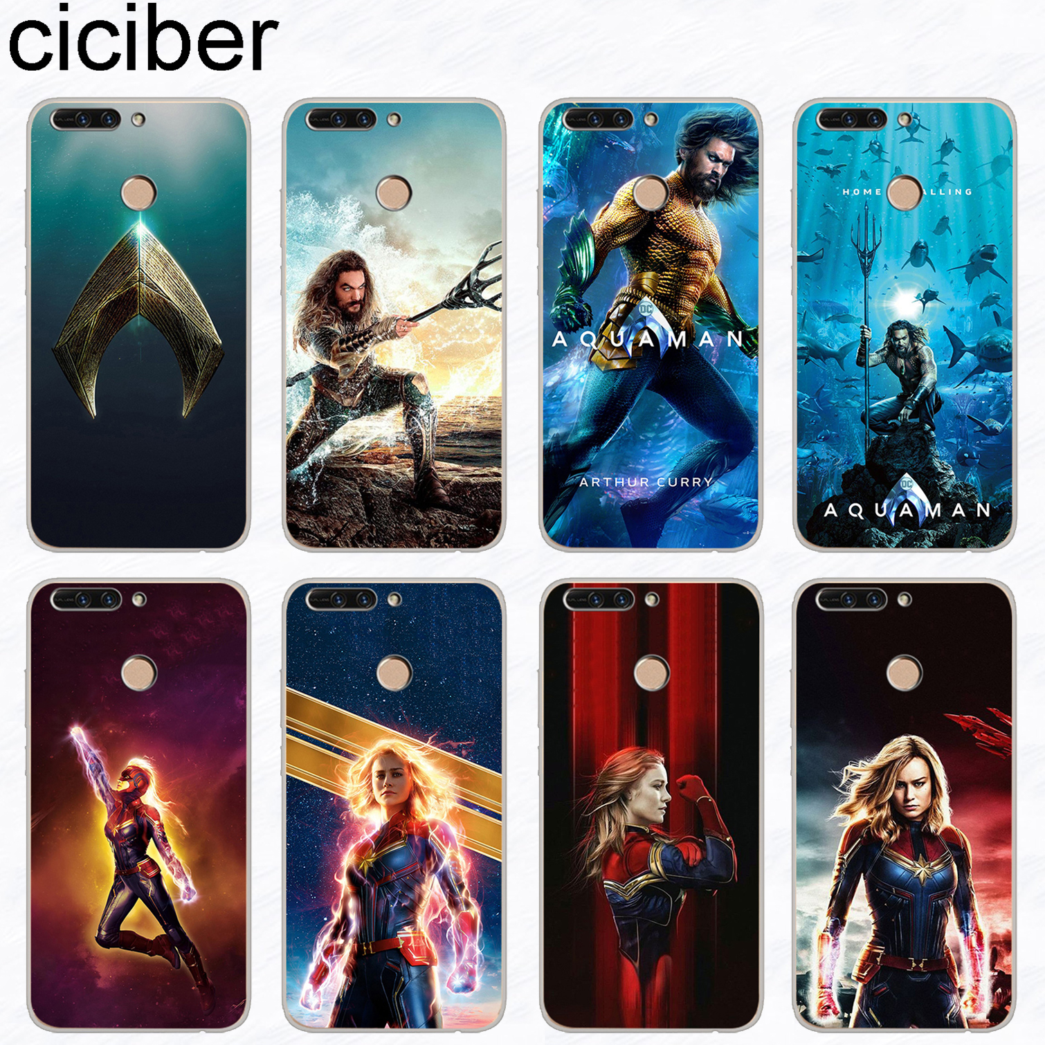 ciciber Aquaman Captain Marvel Phone Case For Huawei Honor 8X 7A Pro 8C 6X Soft TPU For Honor 10 9 8 Lite Play V10 V9 Funda Capa image