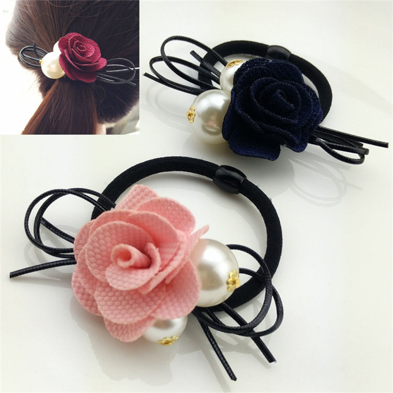 Girl's Hair Accessories 1pcs Lovely Flower Gray Ball Elastic Hair Bands Toys For Girls Handmade Bow Headband Scrunchy Kids Hair Accessories For Womens Beautiful And Charming