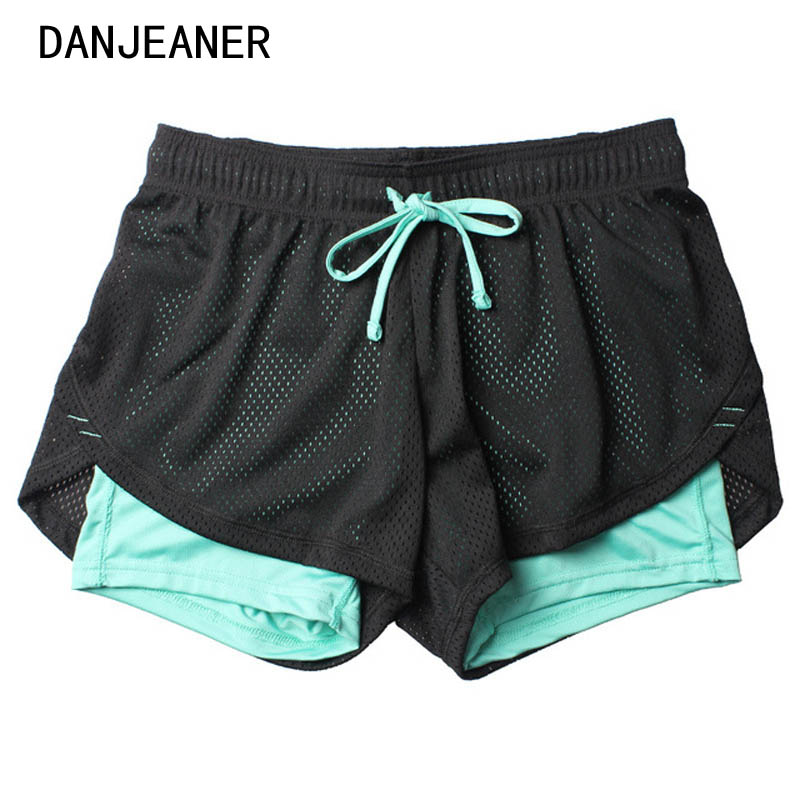 2018 Verão Camada Dupla Calções Mulheres Magras Shorts Da Aptidão Das Mulheres Elásticas Shorts Casual Feminino Jogging pantalones cortos mujer