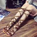 Hot Sale Women's Shoes Lace Up Sexy Knee High Boots Gladiator Sandals Women Bandage Flat Summer Sandals Plus Size Zapatos Mujer