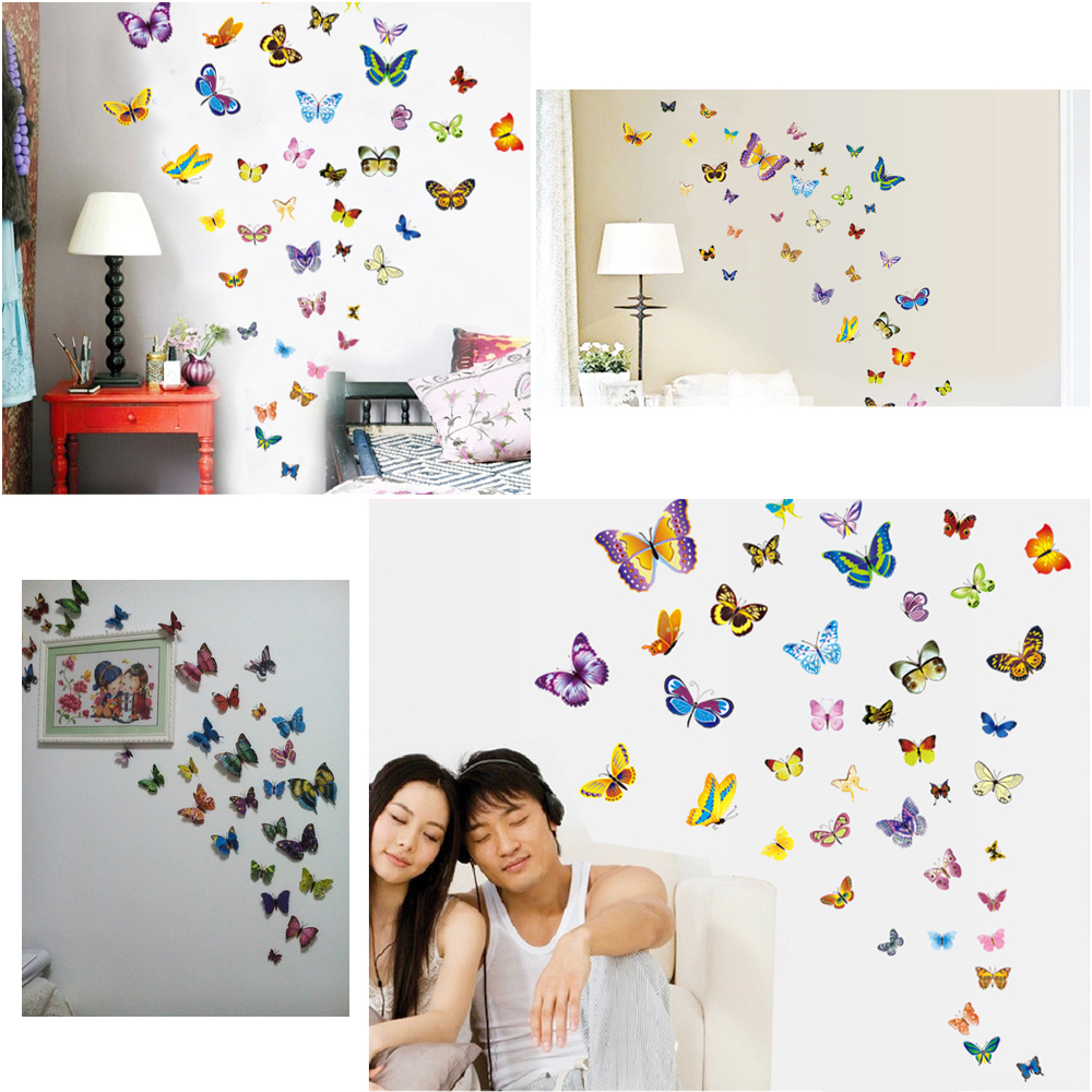 Aliexpress Com Buy 38pcs Package 3d Butterfly Wall Decor Art Stickers Home Accessories Bedroom Decor 3d Living Room Decoration Adesivo De Parede From