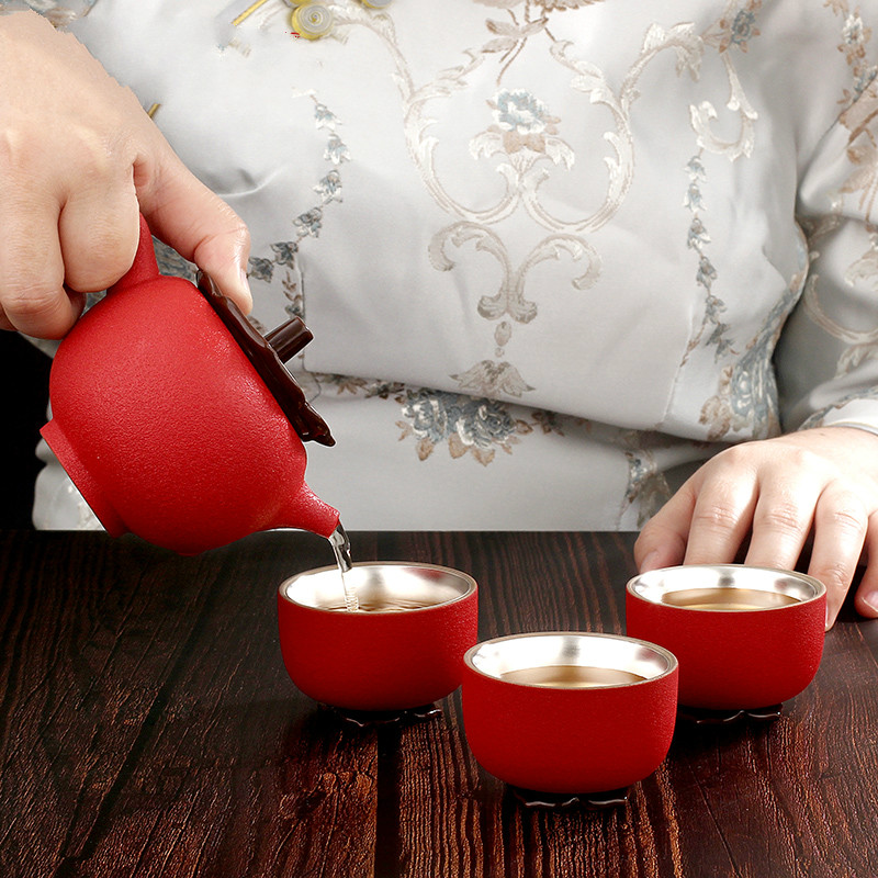 Silver 999 Teapot Tea Set Thermal Insulation Ceramic Silver Practical Gift Pure Silver Appliances