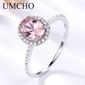 Image 1 - UMCHO 925 Sterling Silber Ring Oval Klassischen Rosa Morganit Ringe Für Frauen Engagement Edelstein Hochzeit Band Feine Schmuck Geschenk