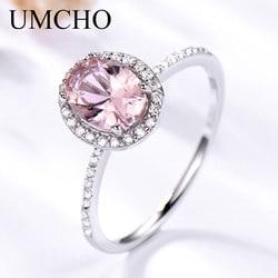 UMCHO Oval Clássico Rosa Morganite 925 Anel de Prata Esterlina Anéis de Noivado Para As Mulheres Pedra Preciosa Aliança de Casamento Presente Da Jóia Fina