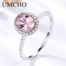 Umcho 925スターリングシルバーリングオーバルクラシックピンクモルガナイト女性の婚約指輪宝石結婚指輪ファインジュエリーギフト
