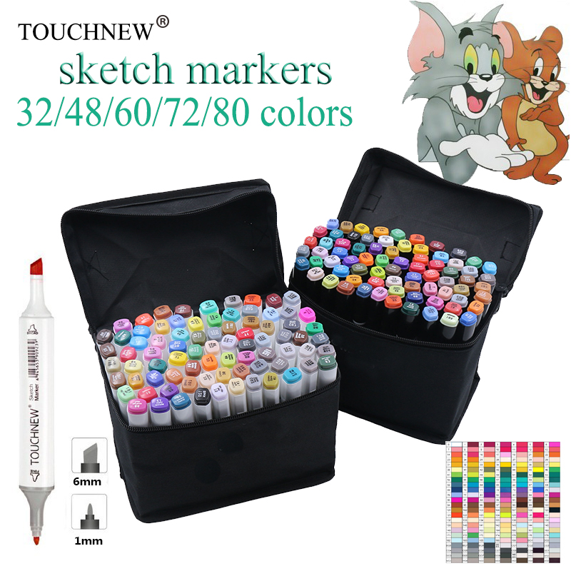 TOUCHNEW 30-80 Colors Dual Headed Marker Set Animation Manga Design brush pen School Drawing Sketch Marker Pen Art Supplies dainayw 12 cool grey colors marker pen grayscale dual head art markers set for manga design drawing school student supplies