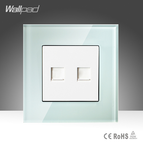 цены  TEL + Data Sokcet Wallpad White Tempered Glass RJ45 RJ11 Computer Telephone Socket Jack Outlet Wall Socket Free Shipping