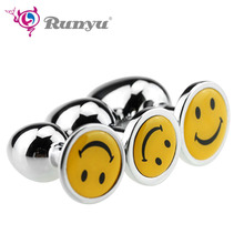 S/M/L Intimate Metal Anal Plug With Smiling Face Smooth Touch Butt Rhinestone No Vibrator Beads Tube SM Toy