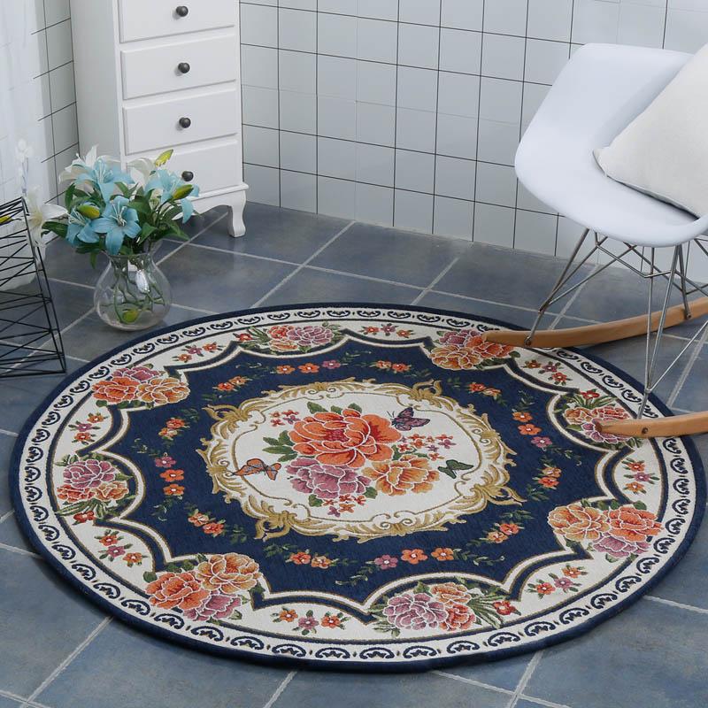Tapis rond européen ordinateur chaise tapis motif géométrique Floral salon chambre tapis antidérapant thé Table tapis