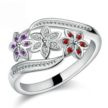 Three Color CZ Flower Fashion Ring for Women