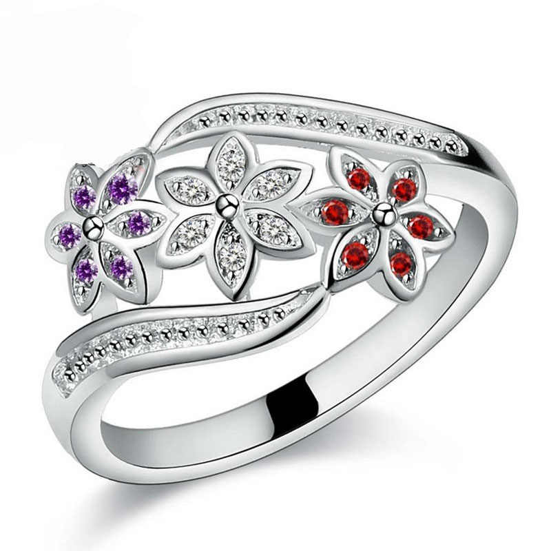 Funny Design Three Color CZ Flower Ring for Women Girls Fashion 925 Sterling Silver Rings Wedding Jewelry Size 7 8 9