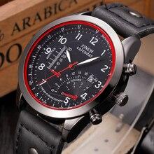 XINEW hommes quartz-montre de bande de cuir noir montre Mâle Étanche hommes de mode mens watch top marque relogio masculino esportivo
