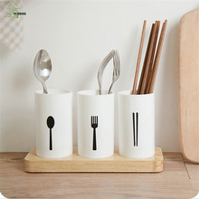 YI HONG Wooden Stand Tableware Storage Box Creative Kitchen Accessories Kitchenware Storage Holder Tableware Organize A1151c недорго, оригинальная цена