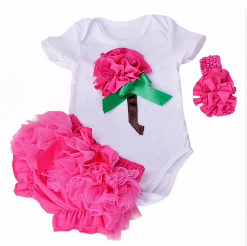 New Summer Baby Girl Clothing Cotton Rose Flower Short Sleeve Rompers And Ruffle Bloomers Newborn Infant Girls Clothes Sets newest 2016 summer baby rompers clothing short sleeve 100