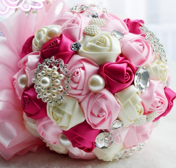 Free shipping ,wholesale 2014 high quality handmade bridal bouquet pearl bow brooch pink wedding bouquet 3 color options FW87