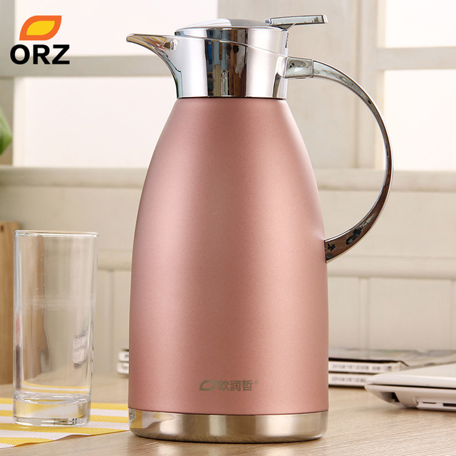 orz fishion pink 2l stainless steel thermos water coffee tea bottle vacuum flask hot water. Black Bedroom Furniture Sets. Home Design Ideas