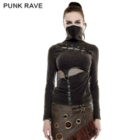 PUNK RAVE Steampunk High Collar Mask Woman T shirts Stretch Knit Stitching Elastic Mesh Fabric Black Tops Punk Rock Tees Gothic