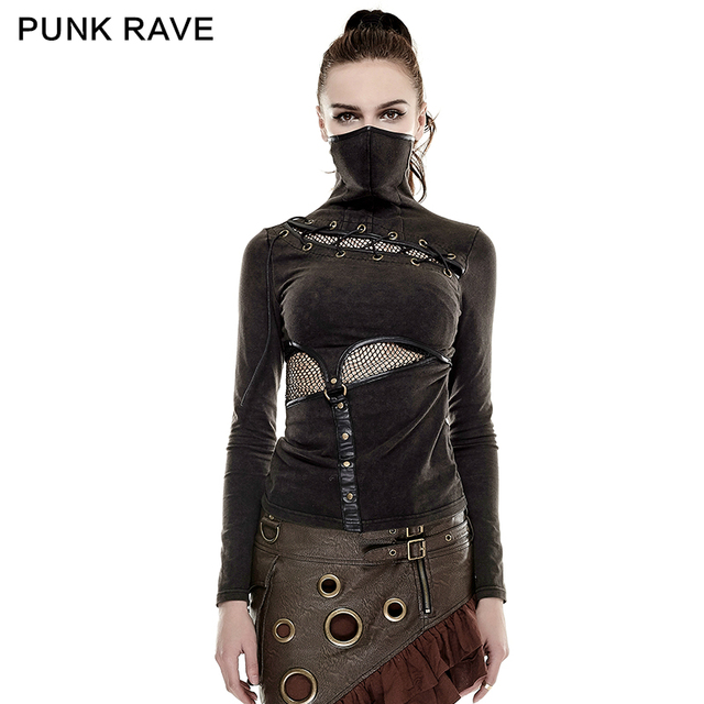 PUNK RAVE Steampunk High Collar Mask Woman T-shirts Stretch Knit Stitching Elastic Mesh Fabric Black Tops Punk Rock Tees Gothic