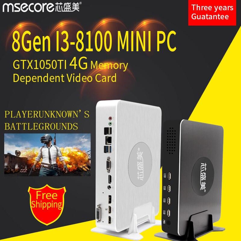 MSECORE i3-8100 GTX1050ti 4g Mini PC Computador Desktop Placa De Vídeo Dedicada sistema barebone HTPC Nettop Janelas Do Jogo 10 4 k Wi-fi