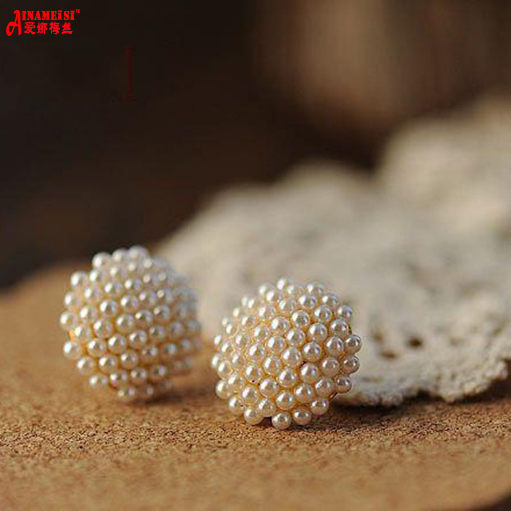 Earings Rushed Promotion Trendy Girls 2017 New Hot Sale Jewelry Fashion Cut Round Small For Grain Simulated Pearl Stud Earrings