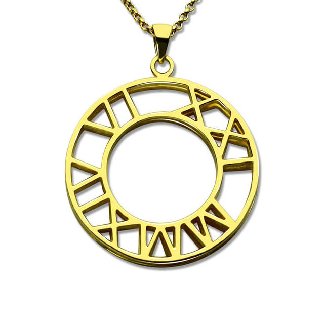 Double Roman Numeral Pendant Necklace Special Date Necklace Gold