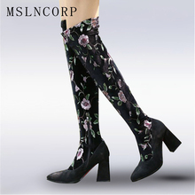 цена на Plus Size 34-43 Flower Boots Winter Boots Fashion Lady High Heel Warm Boot Embroidered Women Over The Knee Long Snow Boots Shose