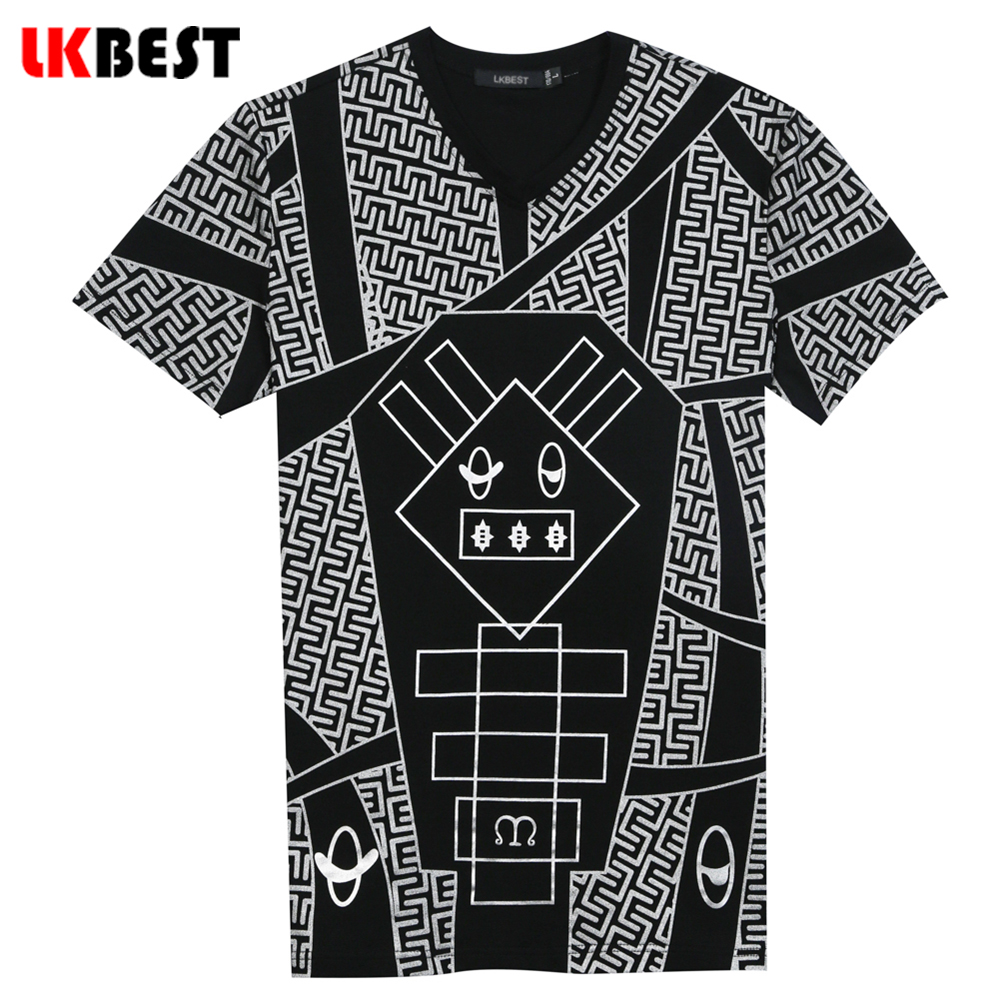 Black t shirt with design - Lkbest 2017 New Design Short Sleeves Men S T Shirts High Quality Character Cotton V Neck T Shirt Men Brand Clothing Ct002
