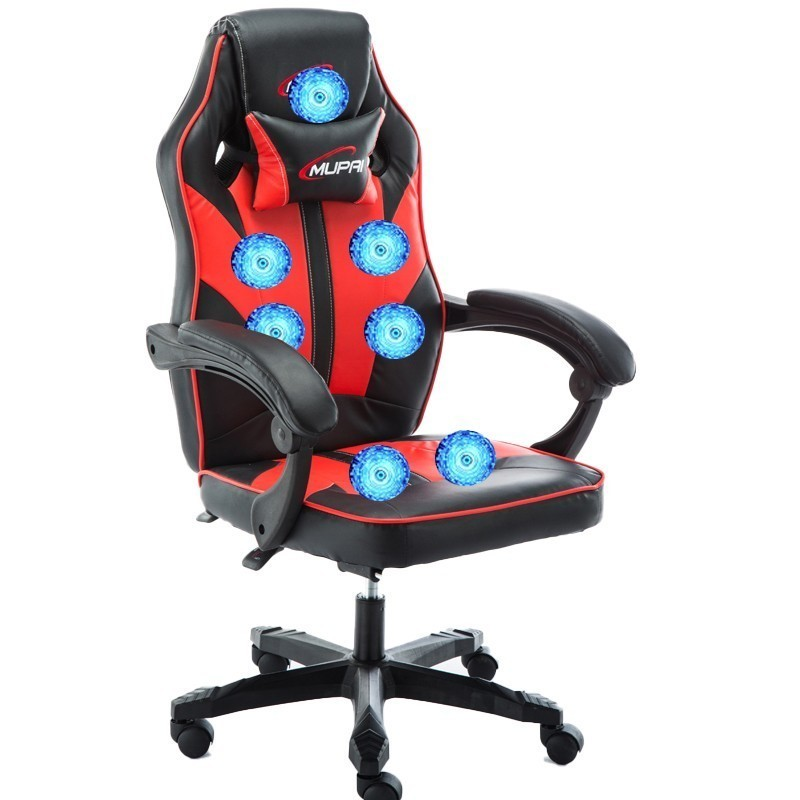 High Quality Office Poltrona Silla Gamer Esports Chair 7 Point Massage Wheel Synthetic Leather With Footrest Can Lie Household