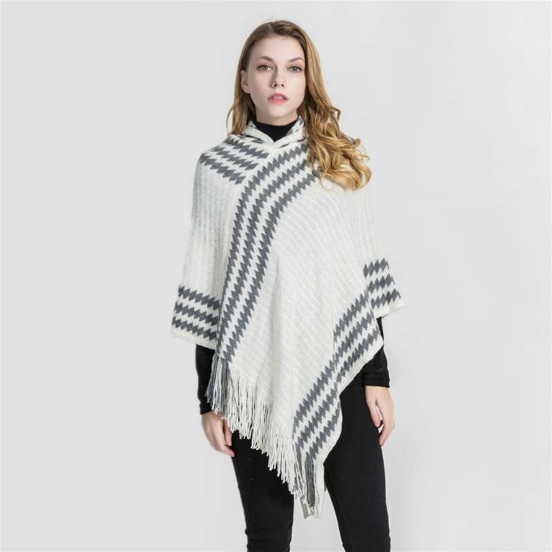2018 New Arrival Winter Cashmere Pashmina Women Scarf Shawl With Tassel Elegant Lady Poncho Capes With Cap Striped Scarves Wrap