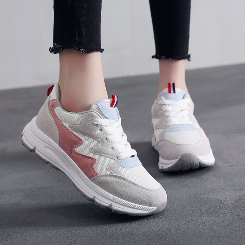 WAWFROK Women Casual Shoes Summer 2018 Spring Platfrom Shoes Woman Fashion Breathable Lace-Up Women Sneakers
