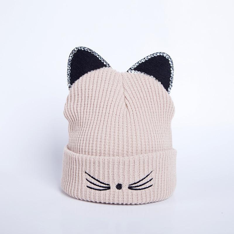 Knitted Acrylic Warm Winter   Beanie   Caps Hot Sale Cat Ears hat Women Hat Crochet rhinestone 2018 New hat